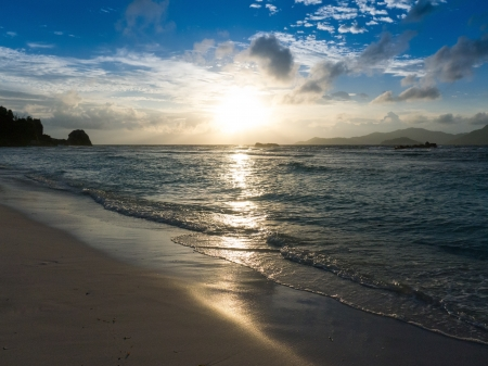 Sunset over the sea in the Seychelles