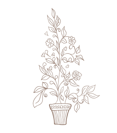 Vector illustration of flower in pot sketch Vector