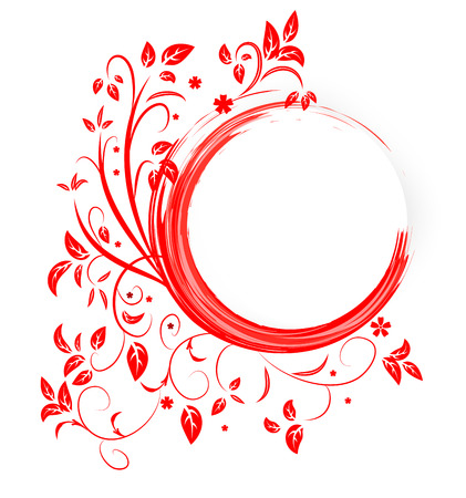 Abstract banner with curls of red color Vector