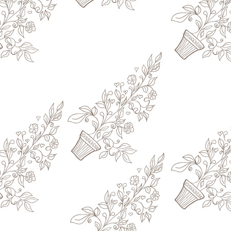 Vector illustration of flower in pot sketch. Seamless pattern Vector