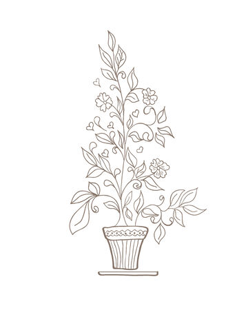 vector illustration of a flower and a pot sketch on a white background Vector