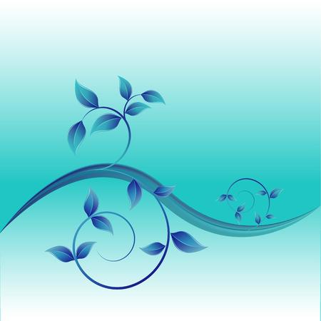 fondo vintage azul: ilustraci�n vectorial de fondo azul abstracto de la vendimia para el dise�o con hojas