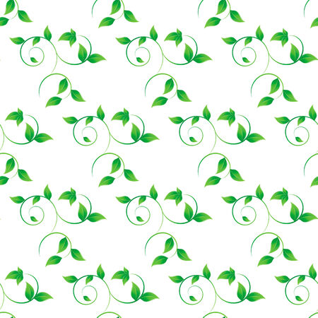 vector illustration of Seamless leaves background in white