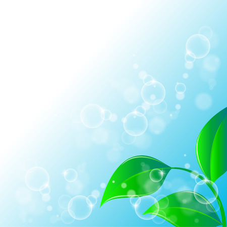 illustration of a Green leaves ecology on lighting blue background