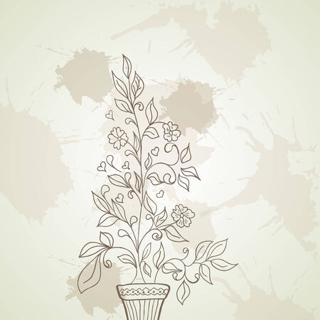 illustration of a flower and a pot sketch on a background Vector