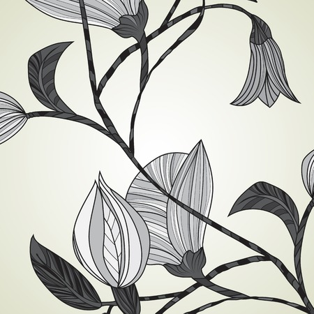 Monochrome abstract flowers on a light background