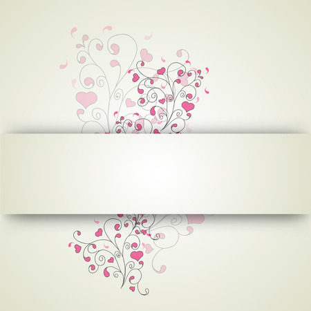 Hearts and swirls on a light background