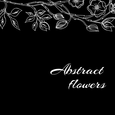 Abstract background with flowers in black and white style Illustration