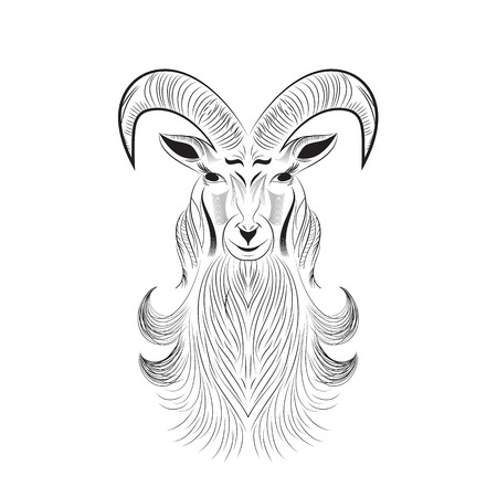 goat tattoo Vector