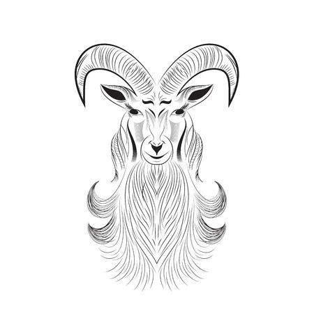 goat tattoo Vector