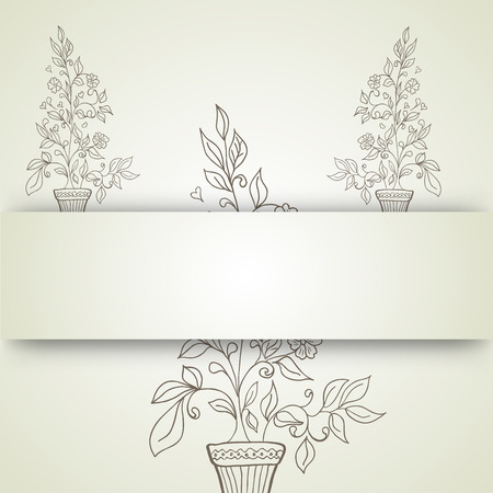 flower and a pot sketch on a background Vector