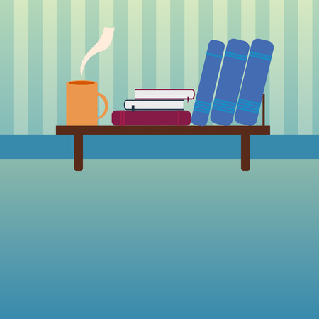 Bookshelf with books and cup of hot tea in style flat Illustration