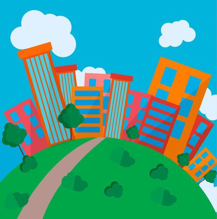 tranquil scene on urban scene: Flat Style Urban Landscape in day Illustration