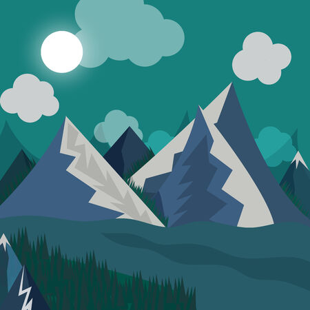 night time: natural landscape in the style of flat in night time