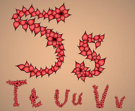 u  s  a: letters of the alphabet S, T, U, V Illustration
