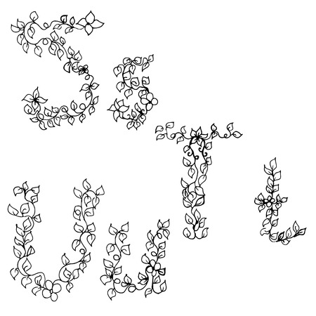 u s a: Vector illustration of Alphabet in style of a sketch (the letters S, T, U) Illustration