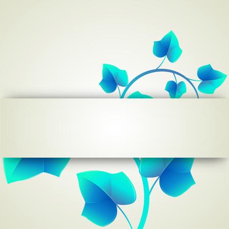curls: Banner blue leaves curls Illustration