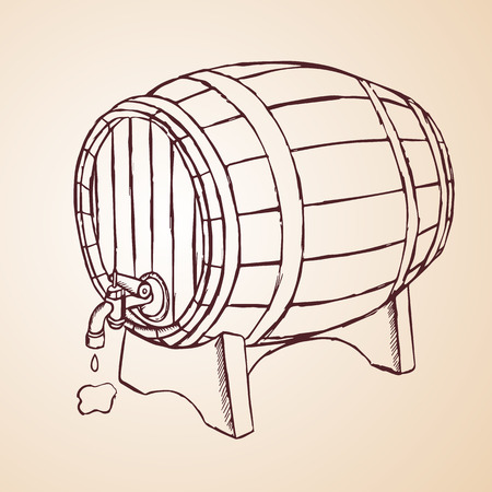 tun: cask of wine hand drawn