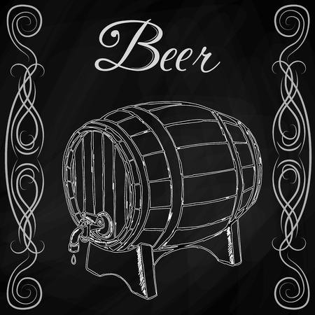 tun: wooden barrel in style sketch