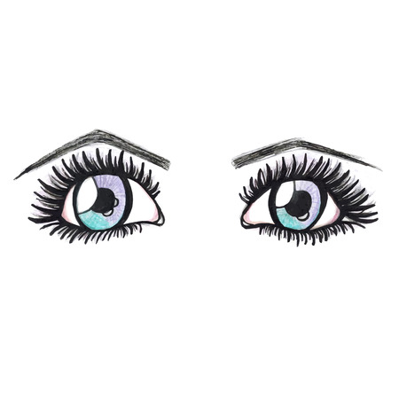 female eyes: Watercolor blue female eyes