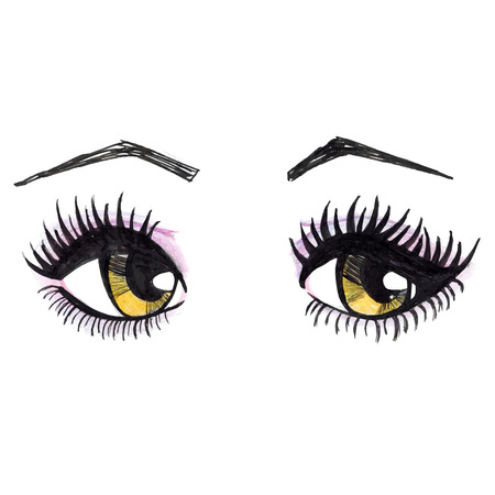 female eyes: Watercolor yellow female eyes