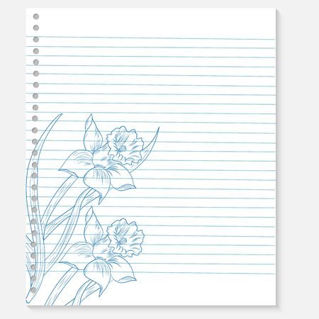 sketch of a flower on a notebook sheet Vector