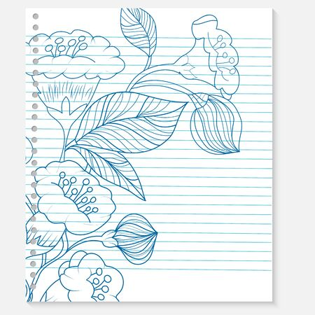 sketchpad: sketch of a flower on a notebook sheet