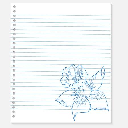 sketch of a flower on notebook sheet Illustration