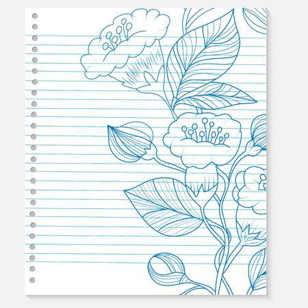 sketch of a flower on notebook sheet Vector