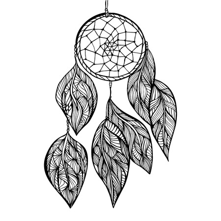 feathery: dream Catcher. Doodle style