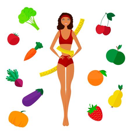 slimming: The slender dark-skinned and Slimming girl. Diet. Healthy life. Flat vector illustration.