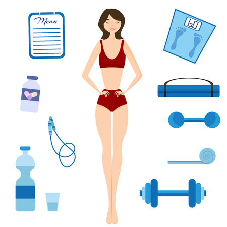 slim woman: Flat vector illustration Slimming girl and Healthy lifestyle