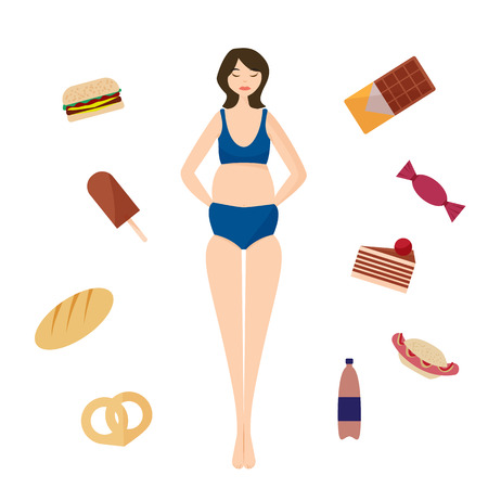 Full girl and Bad habits. Flat vector illustration.