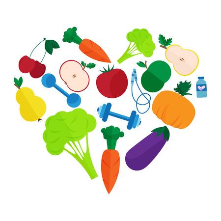 proper: Fitness, stile di vita sano e una corretta alimentazione. Piatto illustrazione vettoriale
