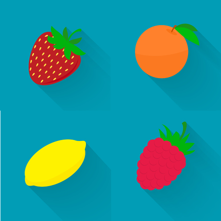mezcla de frutas: Vector ilustraci�n plana - fruta jugosa