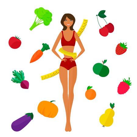 proper: Illustrazione vettoriale di Slim ragazza nera e frutta e verdura fresca. Corretto stile di vita e nutrizione Vettoriali