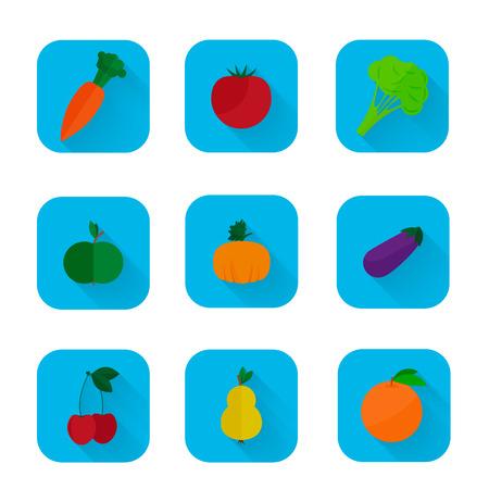mezcla de frutas: Vector conjunto de iconos planos - frutas y verduras