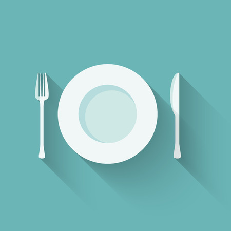 Vector illustration of a flat plate and cutlery with long shadows Illustration