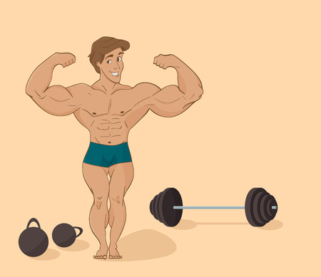 sport man: Vector illustration of a flat - muscular man bodybuilder - inflated athlete in cartoon style