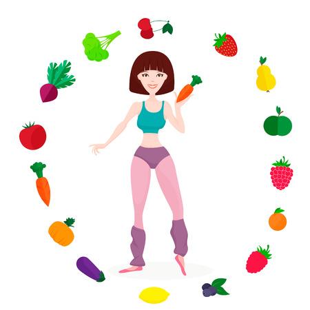 proper: Flat vector illustration of a Slender athletic girl, fresh vegetables and fruits and proper lifestyle Illustration