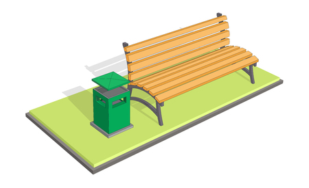 litter bin: Vector illustration of a bench in the park with litter bin (trash metal tank). A bench on the grass in the park Illustration