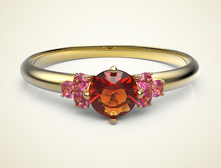 ring ruby: Wedding ring with a diamond. Isolated on light background. 3d digitally rendered illustration