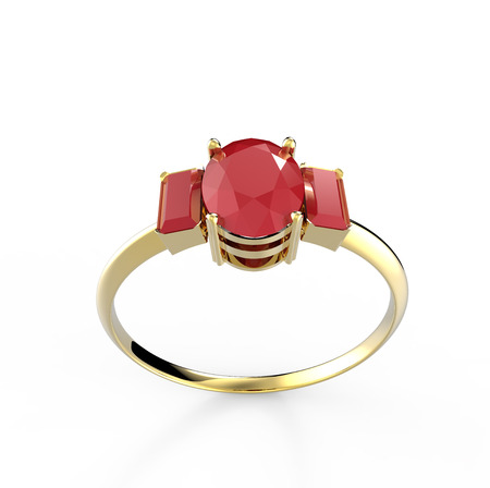 ring ruby: Wedding ring with diamond isolated on white background. Fashion jewelery. 3d digitally rendered illustration