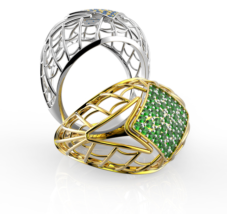 rich couple: Rings with Diamonds. 3d digitally rendered illustration Stock Photo
