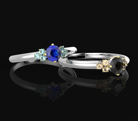 opal: Wedding rings with diamonds on a black background. Fashion jewelry. 3d digitally rendered illustration