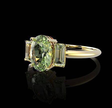 sapphire gemstone: Wedding ring with diamond on a black background.  Fashion jewelry. 3d digitally rendered illustration