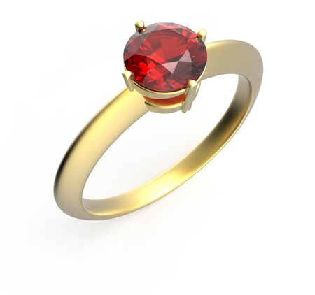ring ruby: Wedding ring with a diamond. Isolated on white background. 3d digitally rendered illustration