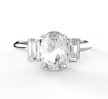 rich couple: Wedding ring with diamond isolated on a white background.  3D illustration Stock Photo