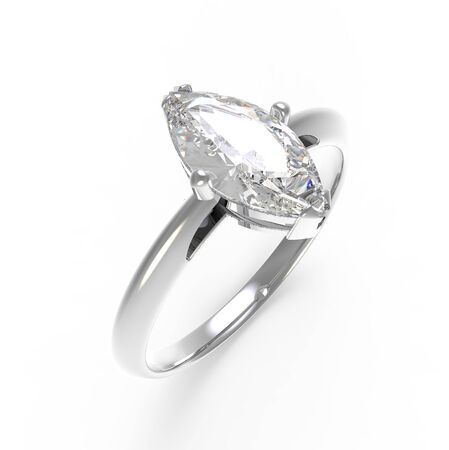 rich couple: Wedding ring with diamond on a white background.  3D illustration