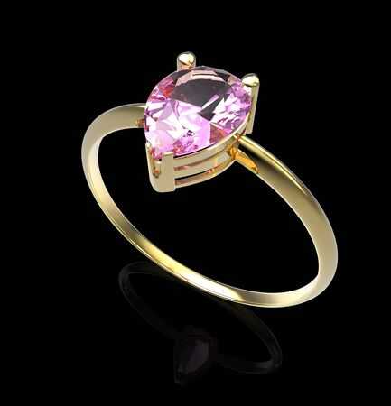 opal: Wedding ring with diamond on a black background. Fashion jewelery. 3d digitally rendered illustration